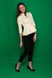 Красивое брюнет в желтой блузке и черных брюках на зеленом цвете стоковая фотография rf