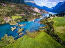 Красивое воздушное фотографирование Норвегии природы Стоковые Фотографии RF