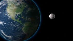 Красивое вращение земли 360 градусов с Солнцем Закрепленная петлей анимация HD 1080 бесплатная иллюстрация