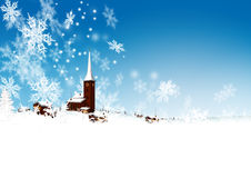 Красивое горное село Snowy с абстрактный филигранный падать Стоковые Фото