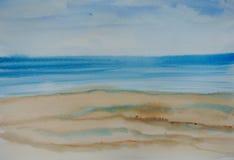 Красивое голубое море, картина акварели Стоковое фото RF