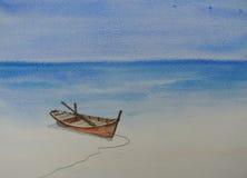 Красивое голубое море, картина акварели Стоковые Изображения