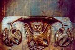 Красивое деревянное резное изображение на misericords стоковая фотография rf