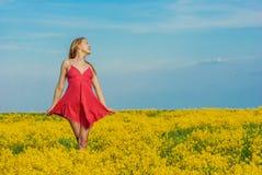 Красивое жизнерадостное поле весны женщины Стоковая Фотография RF