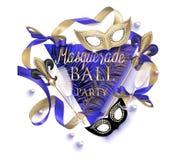 Красивое знамя masquerade с масками, шариками, бутылками и стеклами шампанского и лент черное золото иллюстрация штока