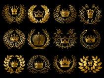 Красивое золото Wreathes комплект бесплатная иллюстрация