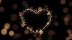 Красивое золотое сердце блестящее Закрепленная петлей 3D анимация Летать искр медленный HD 1080 акции видеоматериалы