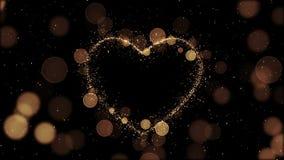 Красивое золотое сердце сделанное искр в закрепленной петлей анимации Летать частиц медленный HD 1080 сток-видео