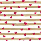 Красивое золото и белая безшовная акварель striped предпосылка с красными сердцами бесплатная иллюстрация