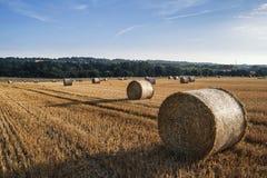 Красивое изображение ландшафта сельской местности связок сена в fie лета Стоковая Фотография RF