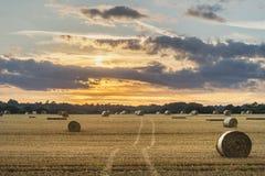 Красивое изображение ландшафта сельской местности связок сена в fie лета Стоковое Изображение RF