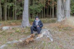 Красивое изображение женщины сидя на пне дерева играя с ее собакой стоковые изображения rf