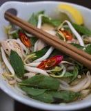 Красивое и аппетитное фото традиционного въетнамского супа лапши цыпленка, также знает как Pho Ga В белом шаре с деревянным b стоковые изображения