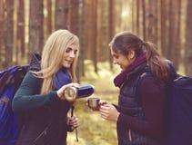2 красивое и молодые женщины идя в лес и выпивая чай Стоковые Фотографии RF