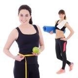 2 красивое и тонкие sporty женщины изолированные на белизне Стоковое Изображение
