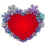 Красивое красное сердце сделанное с снежинками Стоковая Фотография RF
