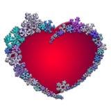 Красивое красное сердце сделанное с снежинками Стоковое Изображение