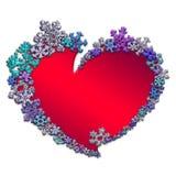 Красивое красное сердце сделанное с снежинками Стоковые Изображения