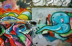 Красивое, красочное искусство граффити, улица Вьетнама Стоковое Изображение