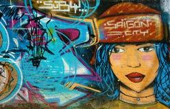 Красивое, красочное искусство граффити, улица Вьетнама Стоковая Фотография