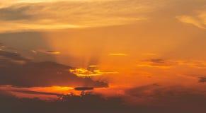 Красивое красочное небо 3 захода солнца Стоковая Фотография RF