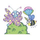Красивое летание бабочки с кустом иллюстрация штока