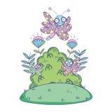 Красивое летание бабочки с кустом бесплатная иллюстрация