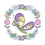 Красивое летание бабочки с флористической кроной иллюстрация вектора