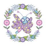Красивое летание бабочки с флористической кроной иллюстрация штока