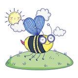 Красивое летание пчелы в ландшафте бесплатная иллюстрация