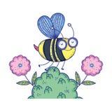 Красивое летание пчелы в ландшафте иллюстрация вектора