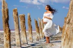 Красивое молодое положение беременной женщины в природе на озере соли стоковое фото rf