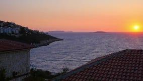 Красивое небо захода солнца в Kas, Турции сток-видео