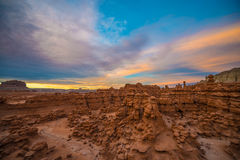 Красивое небо захода солнца над долиной гоблина Стоковые Фото