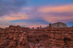 Красивое небо захода солнца над долиной гоблина Стоковые Изображения RF