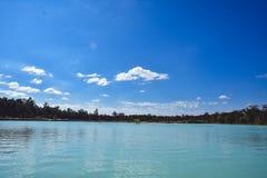 Красивое озеро и голубое небо Стоковое Изображение RF