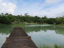 Красивое озеро с пристанью стоковые изображения