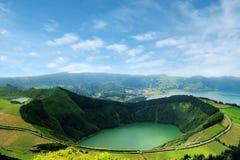 Красивое озеро Sete Cidades, Азорских островов, Португалии Европы Стоковые Изображения RF