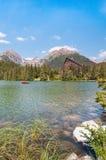 Красивое озеро Strbske Pleso в высоком Tatras Словакии Стоковое фото RF