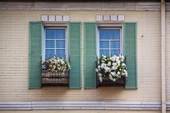 Красивое окно с коробкой и штарками цветка стоковые изображения