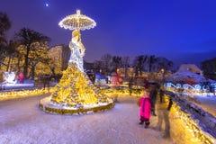 Красивое освещение зимы на парке Oliwski в Гданьске, Польше Стоковые Изображения