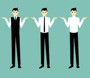 Красивое пожимание плечами бизнесмена шаржа Стоковые Фотографии RF