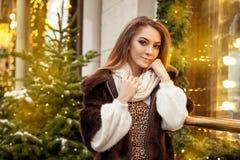 Красивое положение молодой женщины в зиме на улице около оформления р стоковые изображения