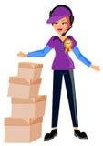 красивое поставки коробки предпосылки изолированное над работником белизны обслуживания Стоковое Изображение