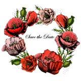 Красивое приглашение свадьбы с маками save Бесплатная Иллюстрация