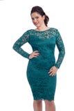 Красивое платье женщины вкратце изолированное на белизне Стоковая Фотография