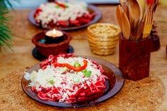 Красивое расположение завтрака здорового уклада жизни вегетарианского на деревянном столе Стоковая Фотография RF