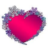 Красивое розовое сердце сделанное с снежинками Стоковое Изображение RF