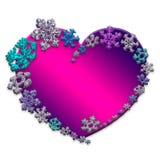 Красивое розовое сердце сделанное с снежинками Стоковое Фото