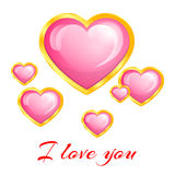 Красивое розовое сердце в рамке золота Стоковое Изображение RF